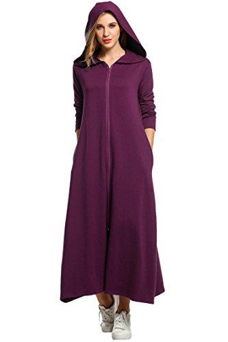 Unibelle Bademantel Damen Morgenmantel Langarm Saunamantel Baumwolle Roben Nachthemd Mit Kapuze Reißverschluss