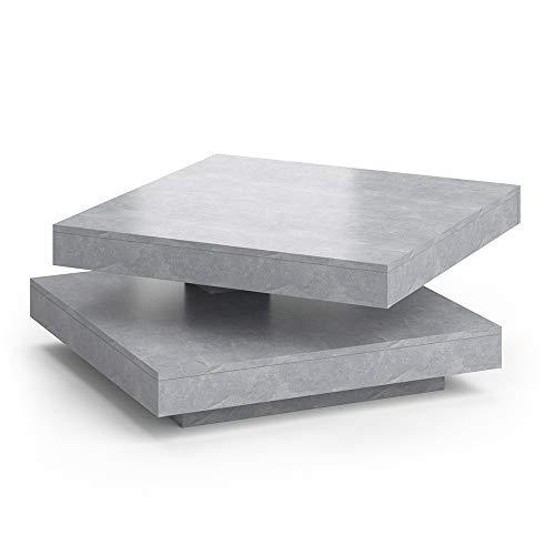 Vicco Couchtisch Elias 360° drehbar 70 x 70 x 34 cm Wohnzimmertisch Tisch (Beton)