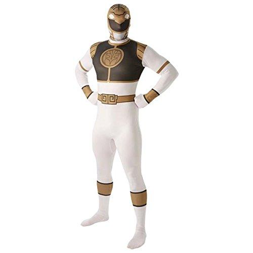 Rubie's Officieel Power-Ranger-kostuum voor volwassenen, wit, tweede huid, full-body pak