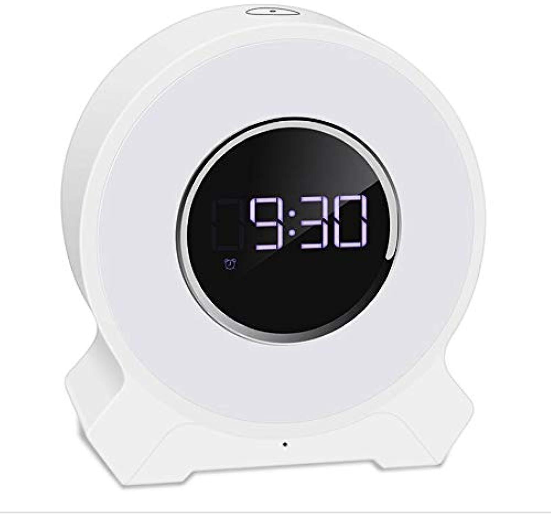 Alarm Blautooth Wake-Up Light Drahtloser Blautooth-Lautsprecher Mit Touch-Steuerung Nachttischlampe LED-Anzeige Wecker Lampe FM Buntes Nachtlicht,Weiß