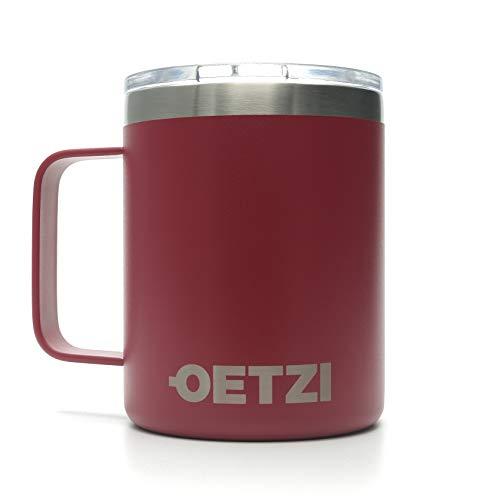 OETZI Henkel 340, Edelstahl Thermobecher 340 ml, Isolierbecher, Trinkbecher, Kaffeetasse, Deckel mit Trinköffnung (Rot)
