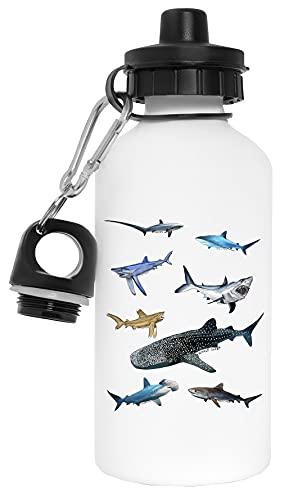 Tiburón Grupo Botella de Agua Blanco Aluminio Reutilizable Water Bottle White Aluminium Reusable