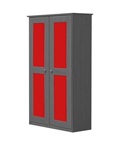 Vicenza Due Porta, Armadio in Pino Massiccio Colore: Grafite & Colore: Rosso