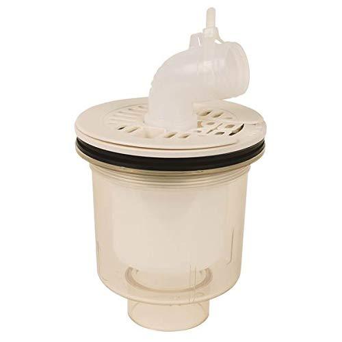 かさ上げ防水パン用排水トラップ T.Eトラップ 縦型本体:透明 目皿/目皿受:アイボリーホワイトPDT-SWM