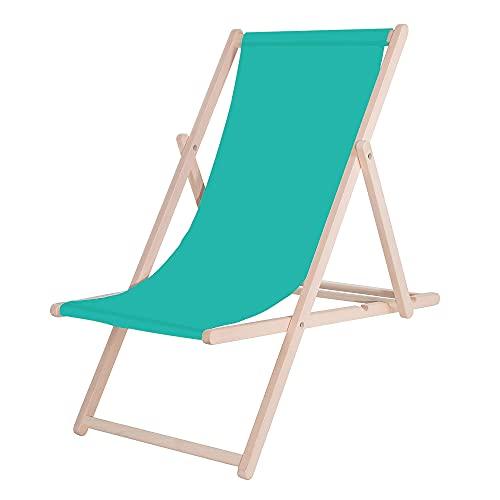 SPRINGOS Tumbona Tumbona de jardín Madera de Haya lacada clásica Dimensiones: 58 x 92 x 62 cm Tumbona Plegable sillón Relax sillón de Playa jardín, Patio balcón (Turquesa)