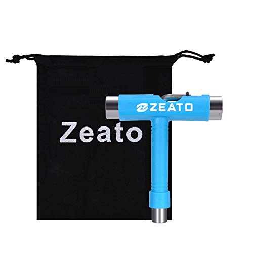 Zeato All-in-One Skate Tools Multi-Function Portable Skateboard T Tool Accessory with T-Type Allen Key and L-Type Phillips Head Wrench Screwdriver - Blue