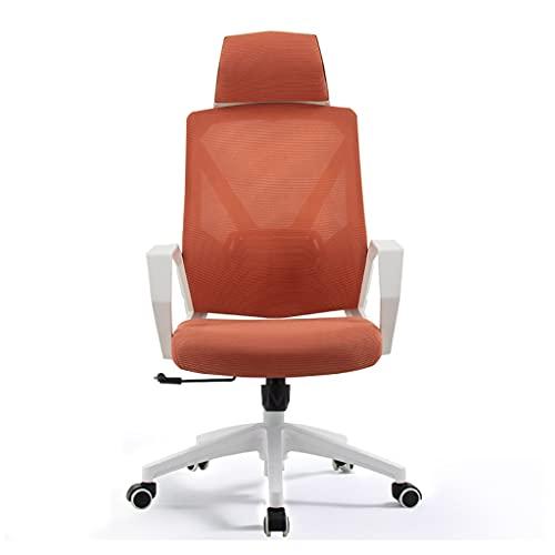 ZRJ - Sedia ergonomica da scrivania per ufficio e scrivania da ufficio con poggiatesta e sedia girevole per la casa, l'ufficio e la camera da letto (colore: arancione)