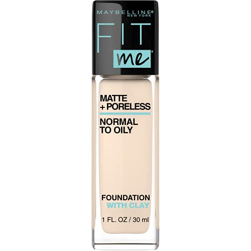 Maybelline Fit Me Matte + Poreless Liquid Foundation Makeup, Porcelain, 1 fl. oz. Oil-Free Foundation