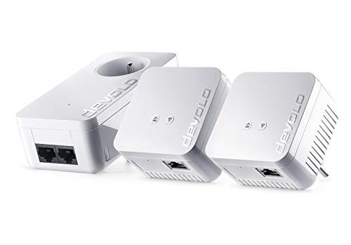 devolo dLAN 550 WiFi Kit Réseau CPL (Connexion Internet 500 Mbit/s via la Prise de Courant, 300 Mbit/s via le Réseau WiFi 1 port Ethernet, 3 Adaptateurs CPL, Amplificateur WiFi) prises françaises
