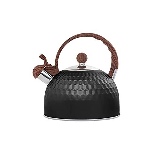 YUANWEIWEI Hervidor de té silbado multiusos de acero inoxidable, hervidor de agua caliente de acero inoxidable, tetera para estufas de gas, para todas las estufas Cookwares 2,5 L (color negro)