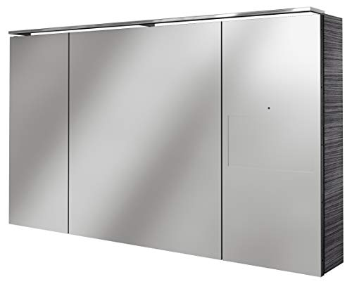 Lanzet SmarT Multimedia Spiegelschrank/Badschrank mit Internetanbindung + Touchscreen/Maße (B x H x T): ca. 120 x 68 x 18 cm/LED Spiegelschrank mit 3 Türen/Screen rechts/Korpus: Schwarz