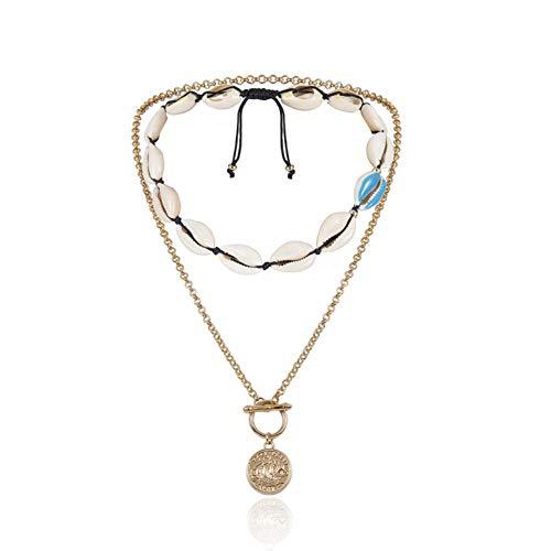 Shell Münze Handgefertigt Halskette Bohemian Style Natural Einstellbare Multilayer Halskette Schlüsselbein Kette (D)