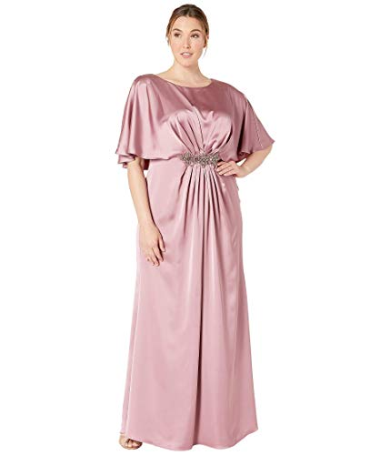 Adrianna Papell Plus Size Capelet Stretch Satin Gown with Beaded Trim Rose 18W