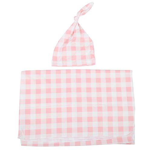 Conjunto de gorro de manta para bebé, manta cómoda para bebé, toalla de baño con cuidado para bebé,(Meat meal grid, 80 * 100cm)