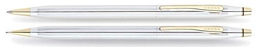 Cross Classic Century Medalist Kugelschreiber und Bleistift Set (Strichstäke M und 0,7 mm, nachfüllbar, inkl. Premium Geschenkbox) chrom goldplattiert