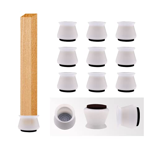 16 Pcs Silicone Chair Leg Floor Protectors and Furniture Pads for Hardwood Floors with Round Felt, Table and Furniture Legs Feet Caps, Covers and Cups
