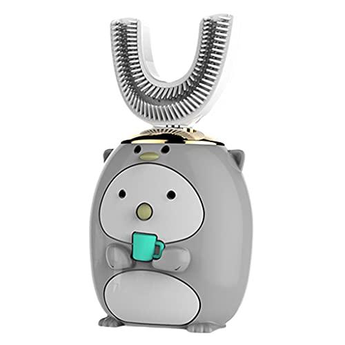 perfeclan Cepillo de dientes eléctrico para niños Cinco modos inteligentes Limpieza de 360 ° en forma de U Diseño impermeable Cepillos de dientes automáticos - Pingüino gris