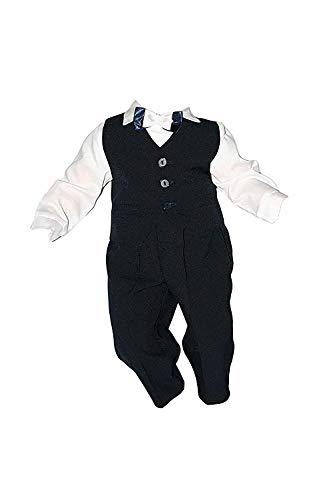 Taufanzug Baby Junge Kinder Kind Taufe Anzug Hochzeit Anzüge Festanzug, 4tlg, Marineblau-Weiß, Gr.86 K2