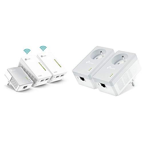 TP-Link CPL 600 Mbps + CPL WiFi 300 Mbps avec Ports Ethernet, Prise CPL Kit de 3 & CPL 600 Mbps avec Prise Intégrée et Ports Ethernet, Prise CPL Kit de 2, TL-PA4015P KIT