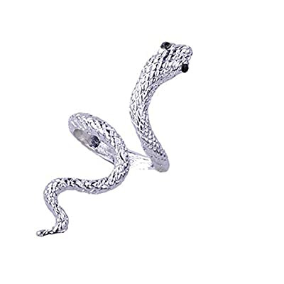 MIXIA Adjustable Punk Rock Crystal Snake Ring for Women Vintage Gothic Open Smooth Animal Finger Ring Halloween Jewelry Accessories (Textured Silver)