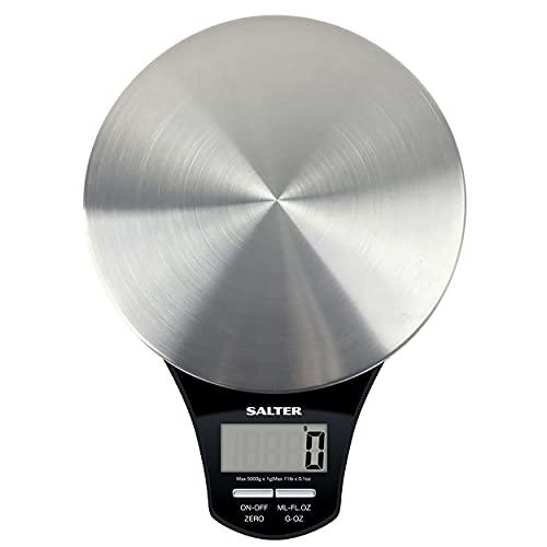 Salter Báscula de Cocina Digital de Acero Inoxidable, Capacidad 5kg, Función de Añadir y Pesar, Negro
