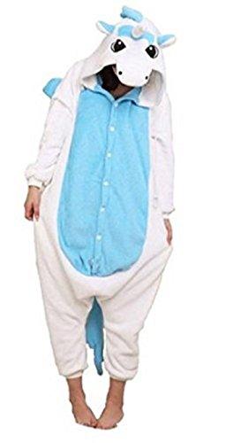 Canberries® Einhorn Pyjama Tieroutfit Tierkostüme Schlafanzug Tier OneSize Sleepsuit mit Kapuze Erwachsene Unisex Jumpsuits Overall Damen Herren Pyjama Fleece (L, Blaues und weißes Einhorn)