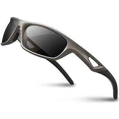 RIVBOS Polarized Sports Sunglasses Driving Sun Glasses shades for Men Women Tr 90 Unbreakable Frame for Cycling Baseball Run Rb831 (Sliver&Black)
