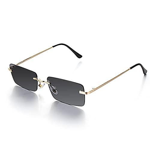 NJJX Gafas De Sol Sin Montura Rectangulares De Moda Para Mujer, Gafas Graduadas Retro Unisex, Gafas, Accesorios De Ropa De Calle, Gris