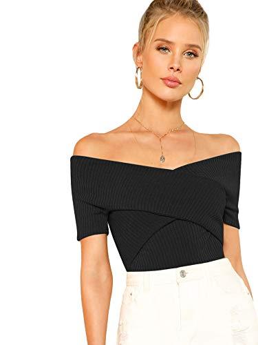DIDK Damen Schulterfrei Crop Shirts Einfarbig Slim T-Shirt Kurzarm Oberteile Tops Sommershirts Kurzarmshits Elegant Blusen Schwarz M