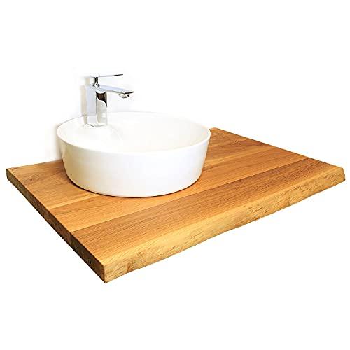 Lavabo de tablero de madera de roble macizo, borde de árbol, barnizado, para lavabos y lavabos, muebles de baño, muebles de baño (80 x 50 cm)