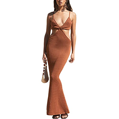 Antopmen Women Spaghetti Straps Knitted Maxi Dresses Elegant Sexy Party Cut Out Backless Bodycon Slim Dress(Small, Brown