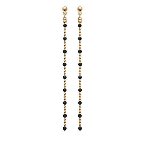 Les Tresors De Lily [R3962] - Gold plated earrings 'Boho' black gold - 70x2 mm.