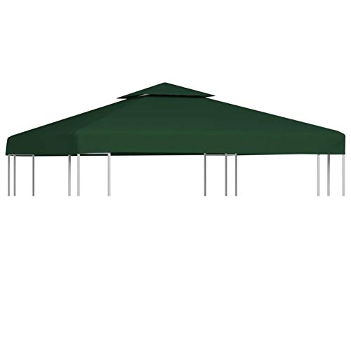 GOTOTOP Cubierta de Repuesto para Pabellón Cenador Gazebo, 3 x 3 m, Impermeable, con 8 Arandelas, 310 g/m², Verde