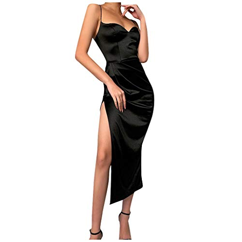 JUSHINI Damen Kleider Sommer Kleid Schwarzes Ärmelloses Langes Kleid Mit Gabelöffnungsriemen Und V-Ausschnitt Sexy Einfarbig Hoch Geschlitzten Strapsrock Kleid