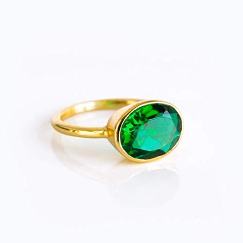 Leah earrings in green emerald May birthstone