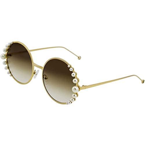ZHANG Gafas de Sol con Montura Redonda de Metal Dorado