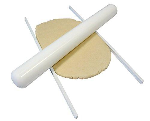 PME Set de 2 Règles d'Amande ou Pâte à Sucre, Plastique, Blanc, 13 x 2 x 13 cm