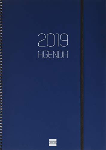 Finocam Agenda espiral opaque 2019 (Enero 2019 - Diciembre 2019), semana vista apaisada, Azul, A4