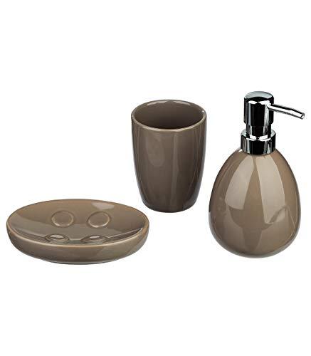 Kit de 3 accessoires de salle de bain - Look moderne - Coloris TAUPE