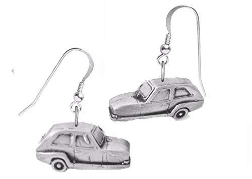 Klassische Car-Ohrringe mit Zinn-Effekt, Bond 875 (Dreirad) ref32 auf Haken, Sterlingsilber 925 gestempelt