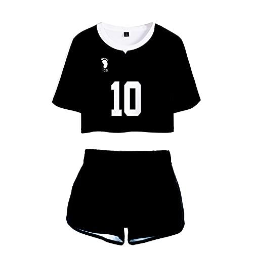 YZJYB Anime Haikyuu!! Camiseta Y Pantalone Cortos Conjunto Impreso en 3D Inarizaki High School Crop Top T-Shirt Y Shorts Set Ropa de Dormir Yoga Fitness Chándales,Suna rintaro no.10,XXL