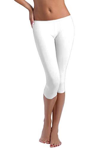 FUNGO Leggings Für Damen 3/4 Länge Capri Damen Sporthose Bunte Yoga Leggins F34 (36, Weiß)