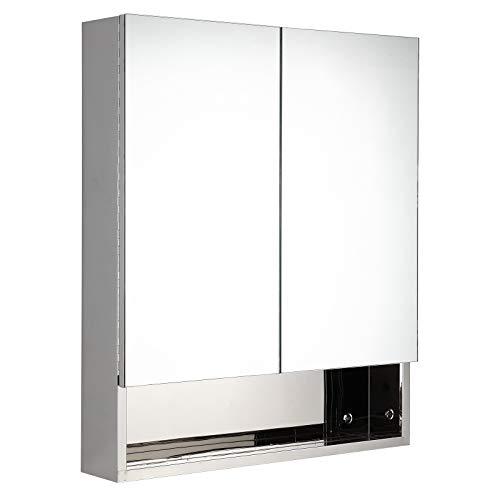 kleankin Spiegelschrank Glasschrank mit Haken Badezimmerschrank Wandmontage Edelstahl Silber B60 x H70 x T13 cm