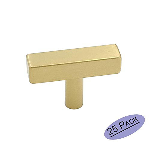 25 Pack goldenwarm Modern Cabinet Hardware Square Bar Knob - LS1212GD Square Shape Knobs Gold Handles for Drawer Kitchen Cabinets Dresser Cupboard Wardrobe