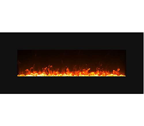 GLOW FIRE Mars Elektrokamin mit Heizung, Wandkamin mit LED | Künstliches Feuer mit zuschaltbarem Heizlüfter: 750/1500 W | Fernbedienung, 126 cm, Schwarz, Kristalldekoration