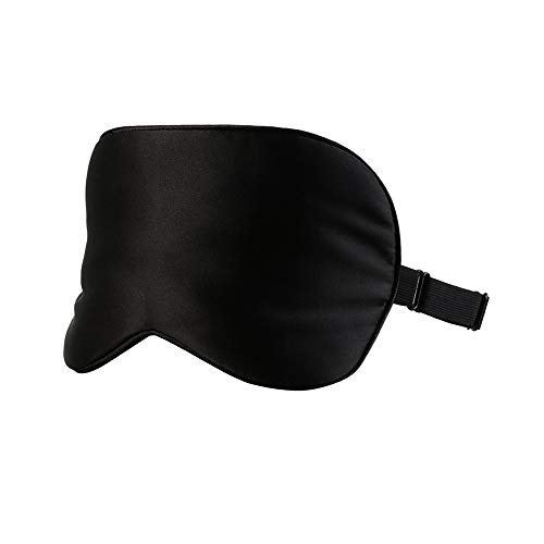 100% Silk Sleep Mask for A Full Night's Sleep, Comfortable and Super Soft Eye Mask with Adjustable Strap, Works with Every Nap Position, Ultimate Sleeping Aid, Blindfold, Blocks Light (Black)
