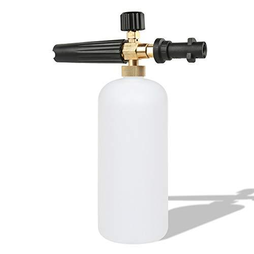 Lanza de espuma de nieve para lavado de coche, pistola de espuma con boquilla ajustable, dispensador de jabón, botella 1 l, compatible con lavadora de alta presión de Karcher K2/K3/K4/K5/K6/K7