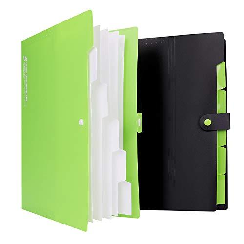 A4ドキュメントファイル ファイルバッグ 大容量 多機能 書類ケース 分類収納 持ち運び 撥水 書類/ファイル/伝票収納 事務用品 学校 オフィス ラベル/ボタン付き 2セット 黒いとグリーン