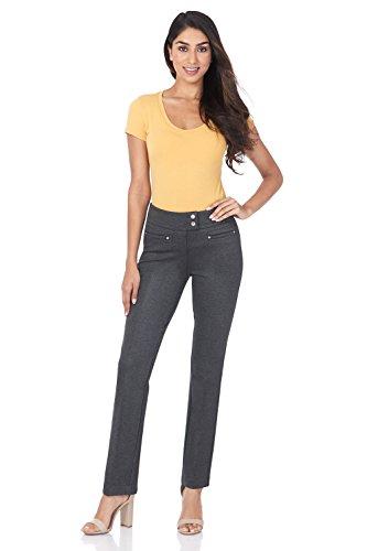 Rekucci Pantaloni da Donna Slim Fit Lunghezza alla Caviglia con Bottoncini a Pressione Modello Comodo Slim Fit
