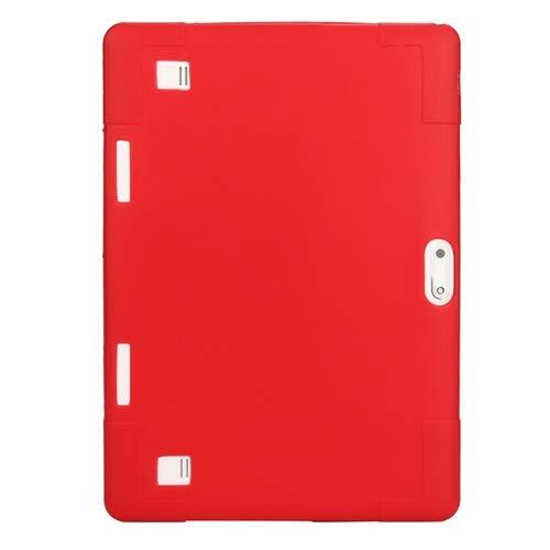 ghn Funda universal de silicona suave para tablet de 10 y 10,1 pulgadas, a prueba de golpes, color sólido, carcasa protectora para tablet (color: rojo)